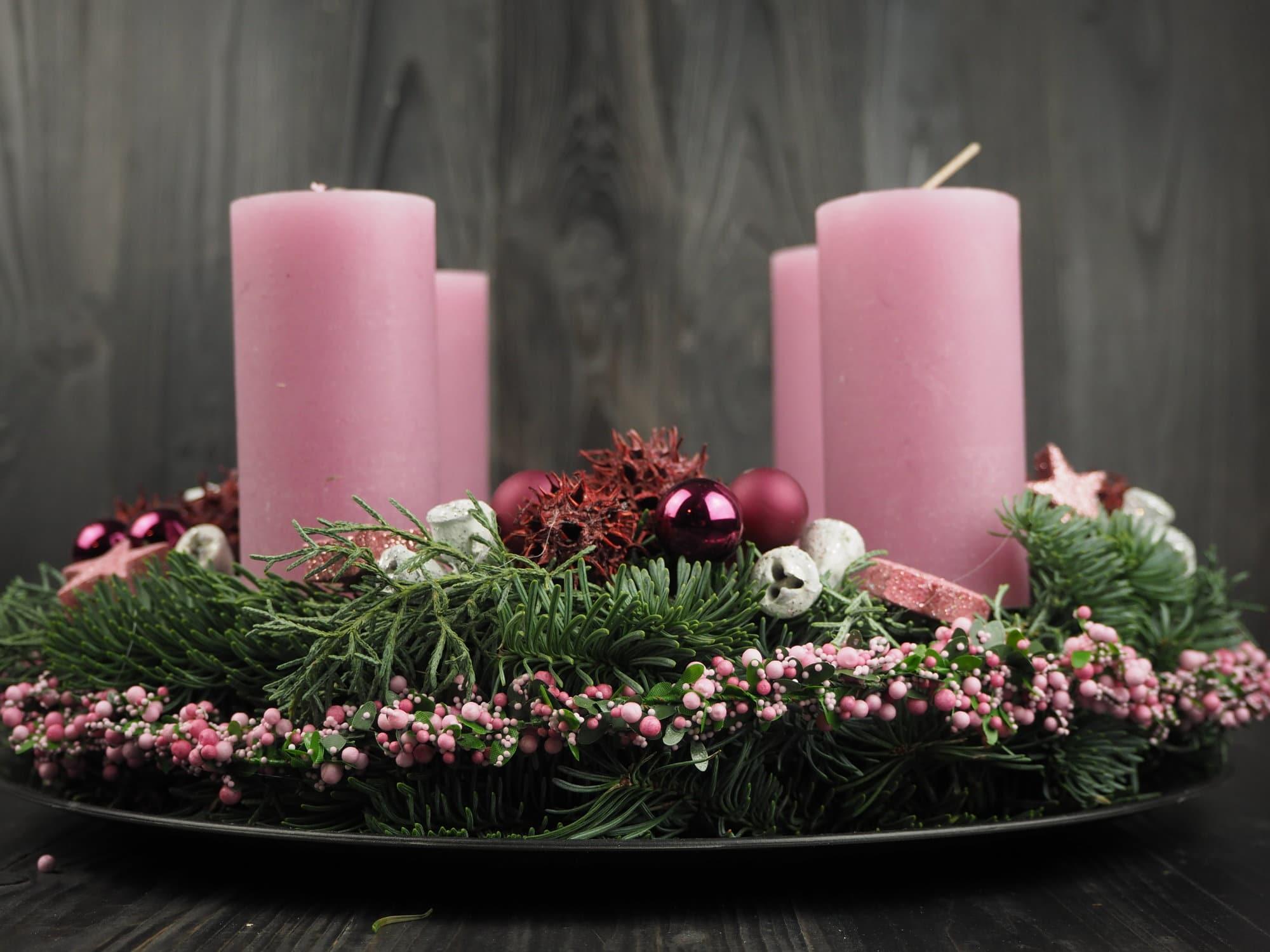 Adventskranz pink